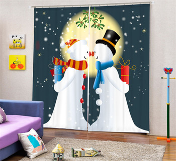 Luxury Blackout 3D Window Curtains For Living Room kids Bedroom Drapes cortinas Rideaux Customized size Beautiful Snowman print