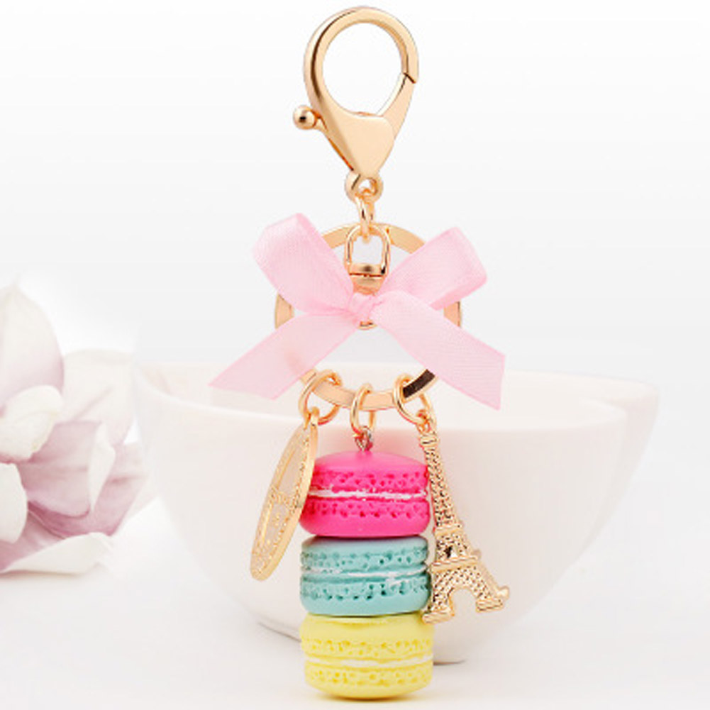 France Paris 4 Colors Cute Macaroon Effiel Tower Macarons Keychain Colorful Keyring Bag Pendant Car Charm Key Holder