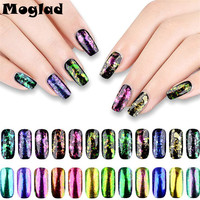 Moglad 12box Set Transparent Flake Powder Chameleon Nail Art Glitter Mirror Powder New Colorful Nail Pigment