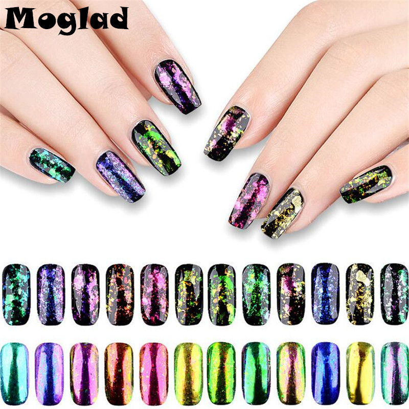 Moglad 12box/set Transparent Flake Powder Chameleon Nail Art Glitter Mirror Powder New Colorful Nail Pigment Manicure tool new wallet бумажник chameleon