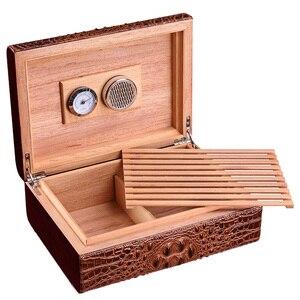Роскошная увлажняющая коробка для сигары с тиснением под крокодиловую кожу, 2 штуки из натурального кедра, рождественский подарок, 50 дюймов,...