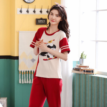 Women summer cotton pajama fashion pullover home wear short sleeve trousers comfortable thin two piece pajama sets pajama set фото