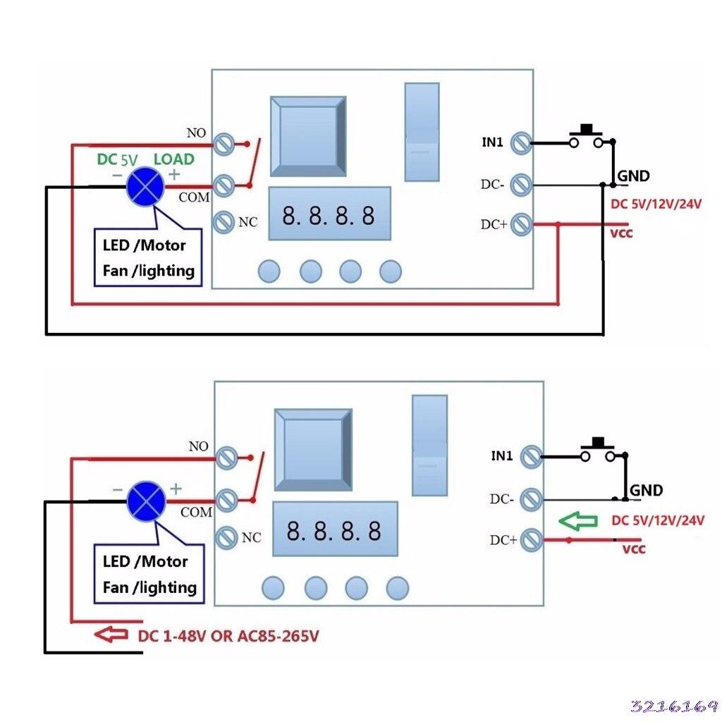 DC 5/12/24 V מתג עיכוב ממסר טיימר ממסר תכליתי להפעיל/off PLC מודול