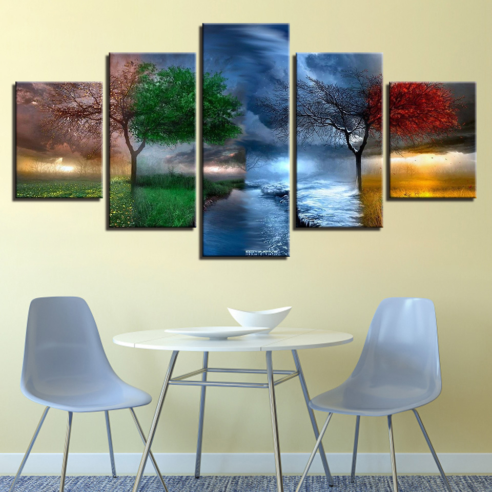 Canvas Prints Pictures Wall Art Framework 5 Pieces 4 Season Trees Abstract Paintings For Living Room Landscape Poster Home Decor  wall art 4 seasons   Four Seasons Tree Craft With Template – paper crafts ideas Canvas Prints Pictures font b Wall b font font b Art b font Framework 5 Pieces
