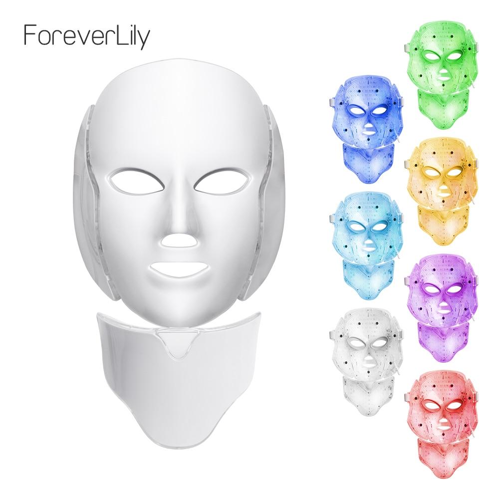 Foreverlily LED Gesichts Maske Therapie 7 Farben Gesicht Maske Maschine Photon Therapie Licht Hautpflege Falten Akne Entfernung Gesicht Schönheit