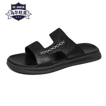 Genuine Leather sandals men summer Korean fashion casual beach shoes outside cowhide slippers Flip Flops fender