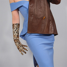 Medium long section Leopard Leather Gloves 40cm Patent Simulation PU Bright Golden Brown Animal Pattern