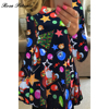 2017 New Autumn Winter Women A Line Dress Novelty Cartoon Santa Claus Mini Dress Comfortable Long