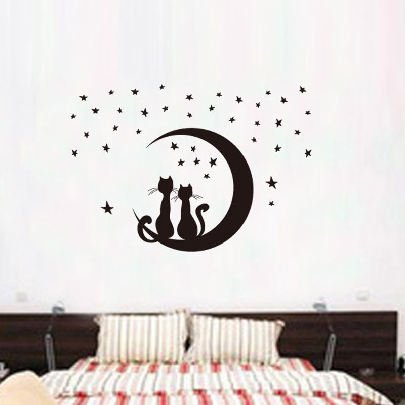 Cartoon cat moon diy vinyl wall stickers for kids rooms - Dibujos para paredes de cuartos ...