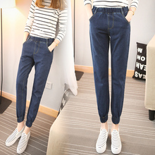 5xl plus size denim jeans pants women spring autumn 2016 bermuda feminina thin elastic waist cowboy pants A1293