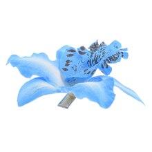 Nueva Novia de La Boda Flor de La Orquídea Del Pelo Clip Barrette Mujeres Niñas Accesorios 1 unids Azul