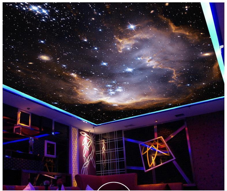Foto Kustom Wallpaper 3d Langit langit Mural Wallpaper Alam Semesta Fantasi Cacar Langit langit Mural Bima