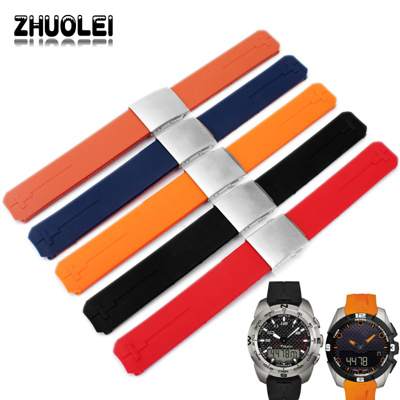 Quality Natural rubber Men's Watch band 20mm Replacement Silicone Watch bands For Tissot T-Touch T33 Strap Bracelet