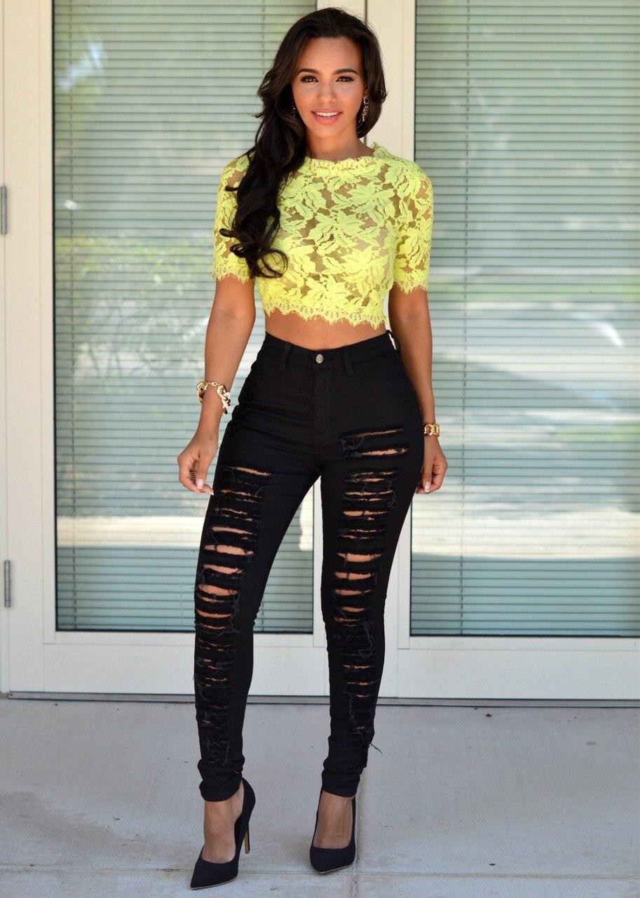Aliexpress.com : Buy Fashion women cotton denim ripped hole skinny ...
