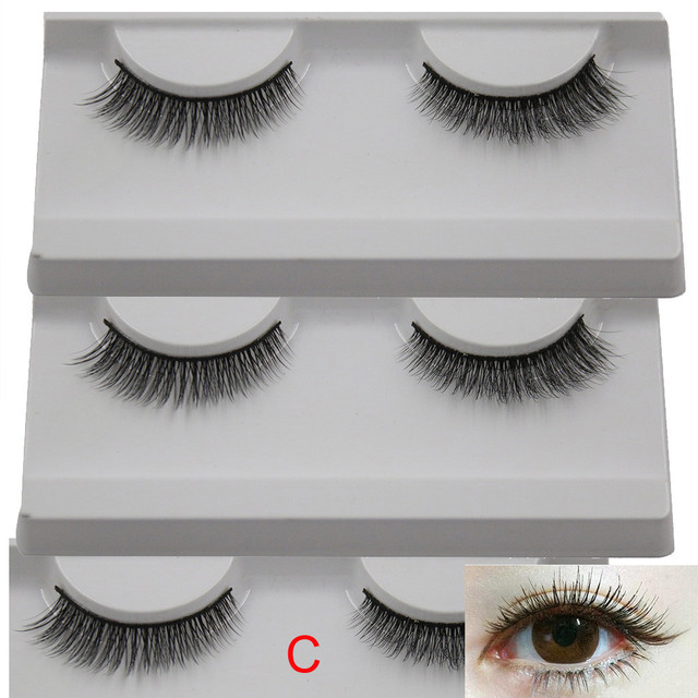 Korean Style 1 Pairs Long Cross False Eyelashes Makeup Natural Fake