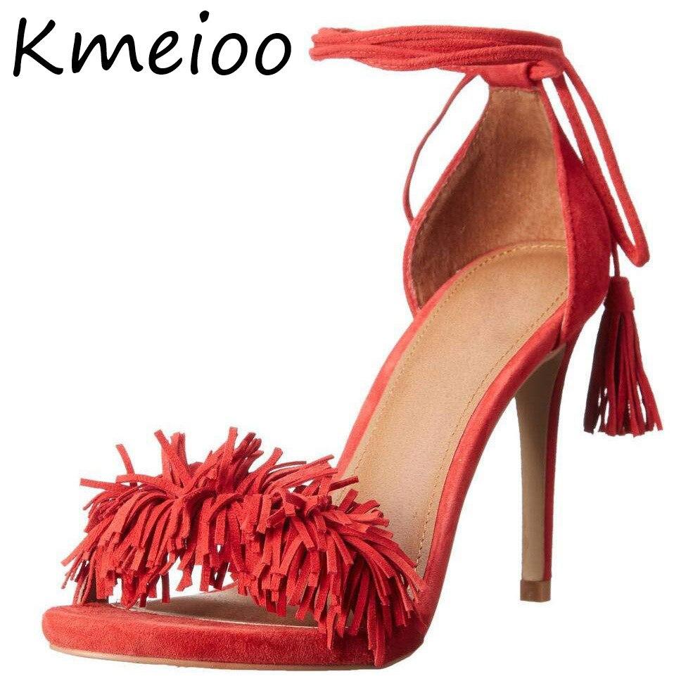 Kmeioo/Новые модные женские босоножки на высоком каблуке, на шнуровке, размеры США 5 15 обувь с бахромой обувь с кисточками и завязками на шпильк