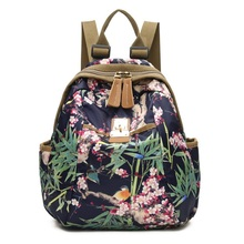 Women Printing Casual canvas Floral Backpacks For Teenager Girls Travel Large Capacity Anti-Theft Multifunction Backpack