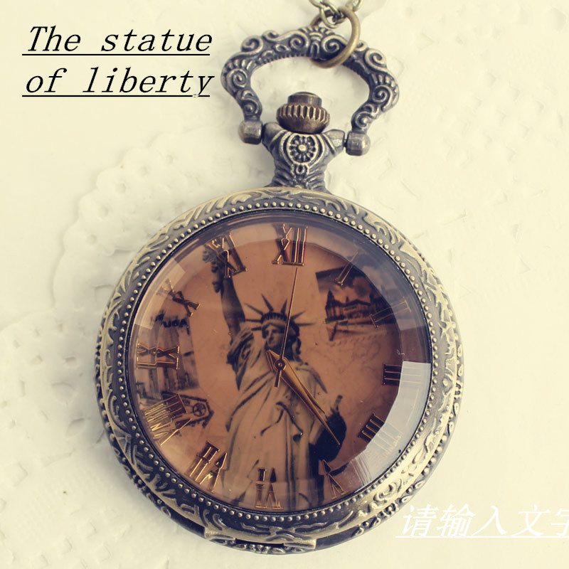 Car hang han edition fashionable Europe and the United States face the statue of liberty pocket watch pendant. It's light brown