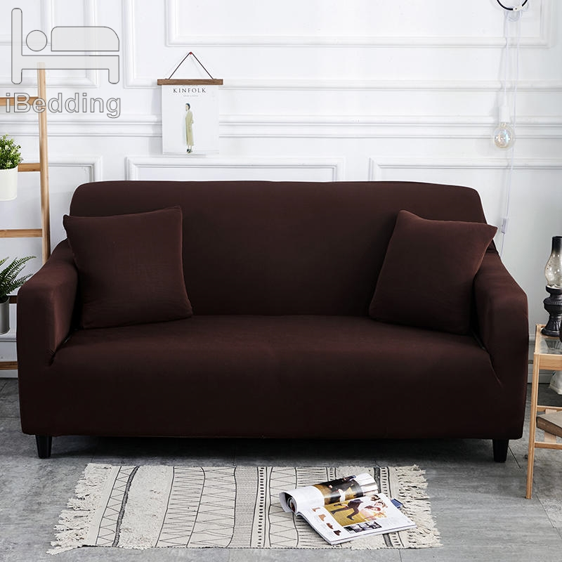 Dark Coffee Solid Simple Elastic Sofa Protector Cover for