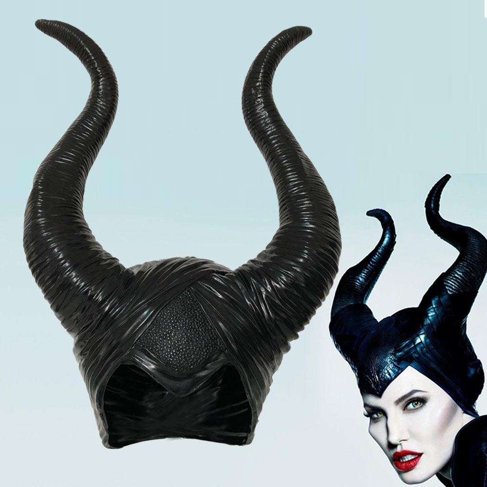 Maleficent Horns Cosplay Mask Headgear Black Queen Helmet Cap Headpiece Halloween Masquerade Party Props
