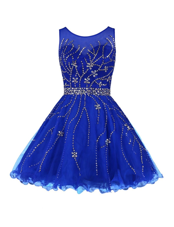 2017 Royal Blue Homecoming Dresses Beaded O-Neck Short Prom Party Dress For Cocktail With Silver Beadings Real Samples