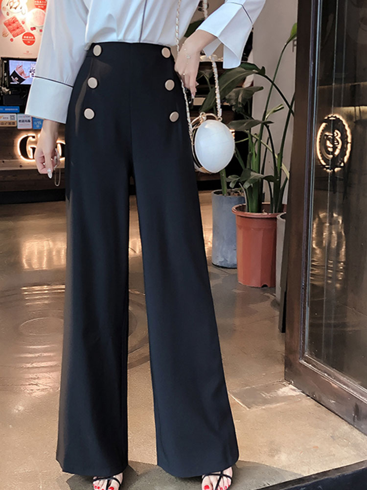 2019 Women Summer High Waist Double-breasted Loose   Wide     Leg     Pants   OL Lady Plus Size Suit   Pants   Trousers Work Office Wear