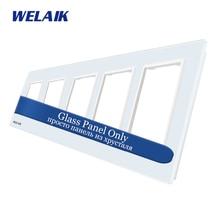 Welaik сенсорный выключатель Комплектующие для самостоятельной сборки Стекло Панель только стене выключатель черный, белый цвет кристалл Стекло Панель квадратное отверстие a3888w1/B1