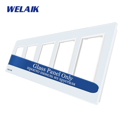 WELAIK  EU 5Frame-Glass Panel-Only-Wall-Socket-DIY-Parts-Crystal Glass-Panel Square-hole  A58W1