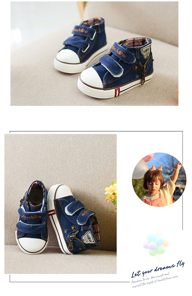 New 17 Autumn Canvas Children Shoes Boys Sneakers Brand Kids Shoes for Girls Jeans Denim Flat Boots Baby Toddler Shoes 4