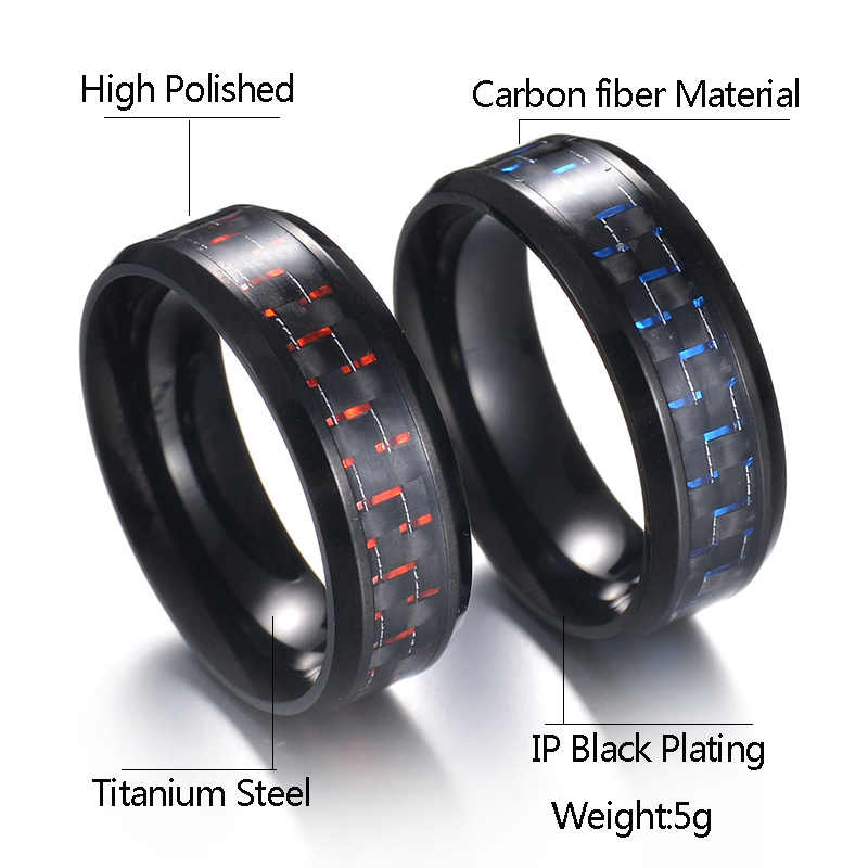 التيتانيوم الصلب ألياف الكربون الأسود رجل بارد خواتم أزياء الأحمر الأزرق حلقة آنيل Masculino مجوهرات