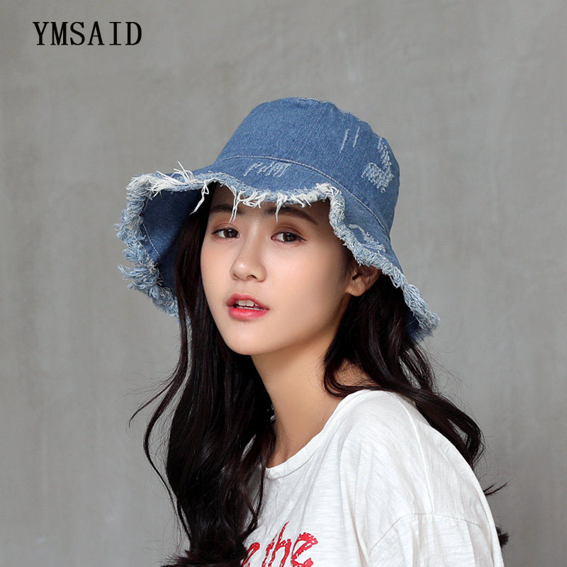 Ymsaid Summer Washed Denim Sunhat Women Fashion Tassel Floppy Cap Ladies Wide Brim Beach Bucket Hats Men Cotton Foldable Chapeu