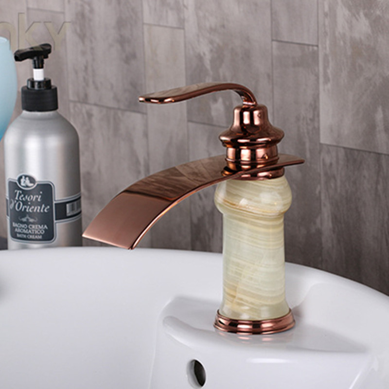 Free Shipping Senducs Stone Rose Gold Faucet And Solid Brass Bathroom Basin Sink Faucet By
