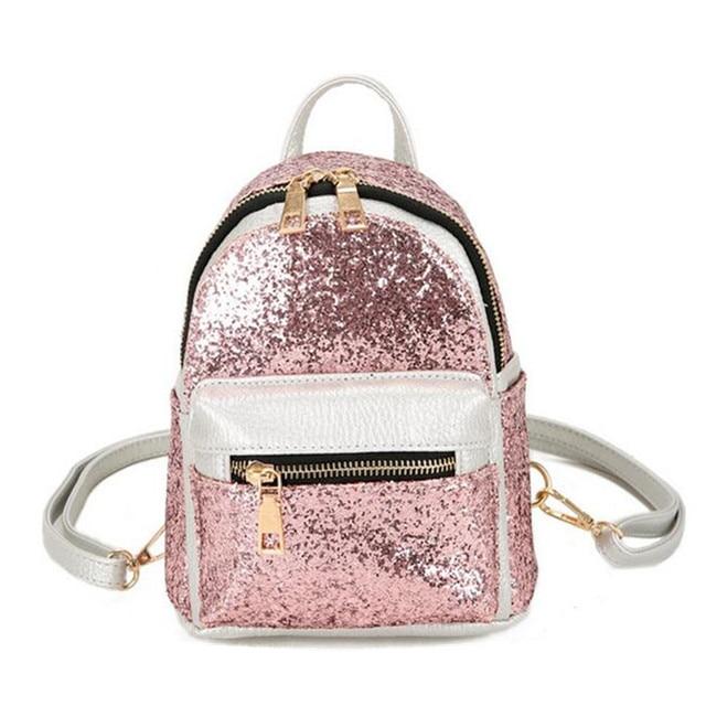 aef9cf1f83d2 Летние Для женщин мини-рюкзак из искусственной кожи с Блестками Блестящие  Серебряные Дамы Сумка в