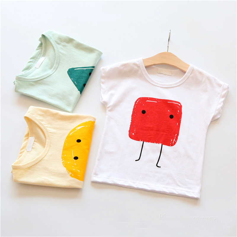 girls short sleeve tee 2017 Kids summer girls clothes short sleeve Tee for baby face expression children top