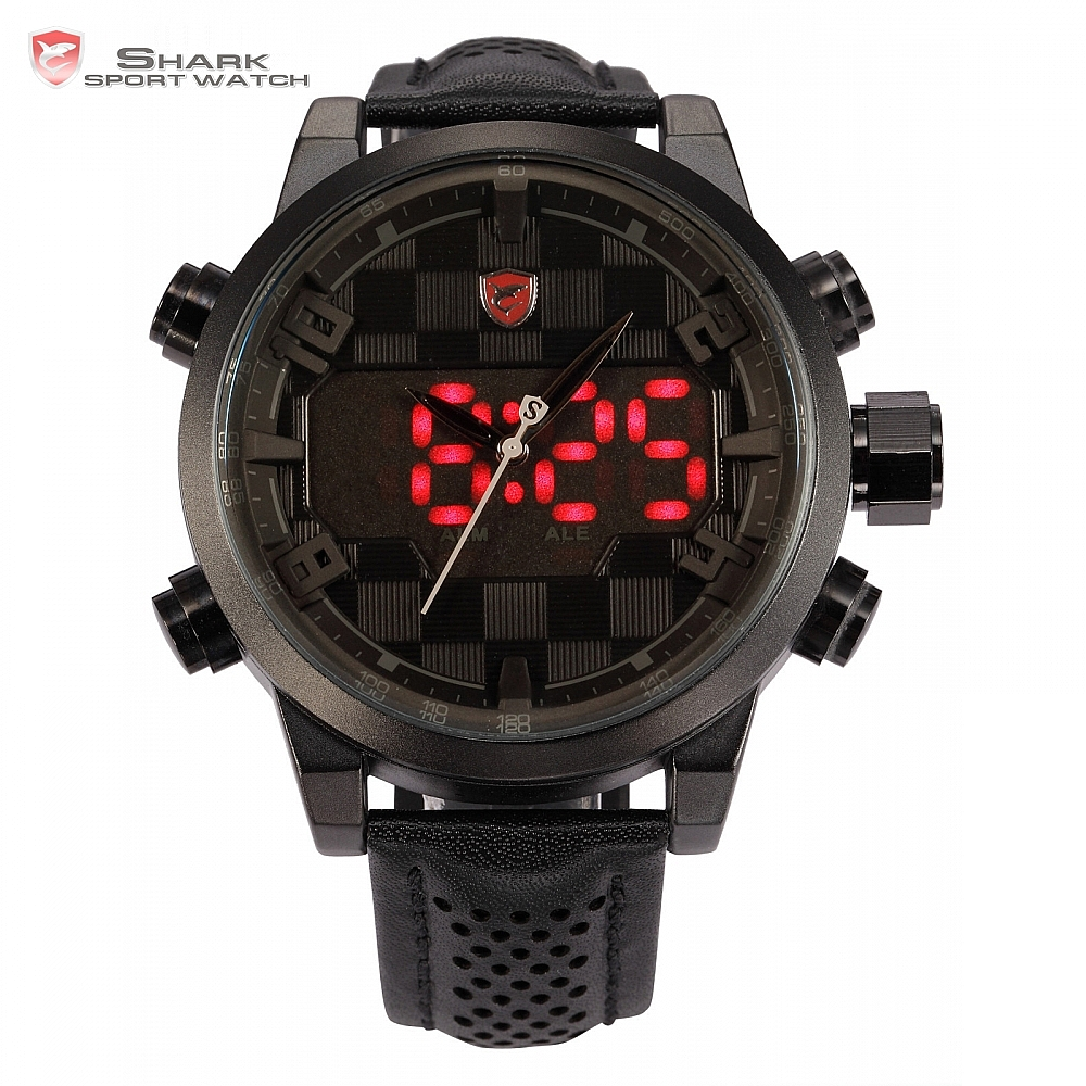 Sawback Angel SHARK Sport Watch Analog Digital Dual Movement Full Black Date Alarm Male Leather Strap Military LED Watch / SH206