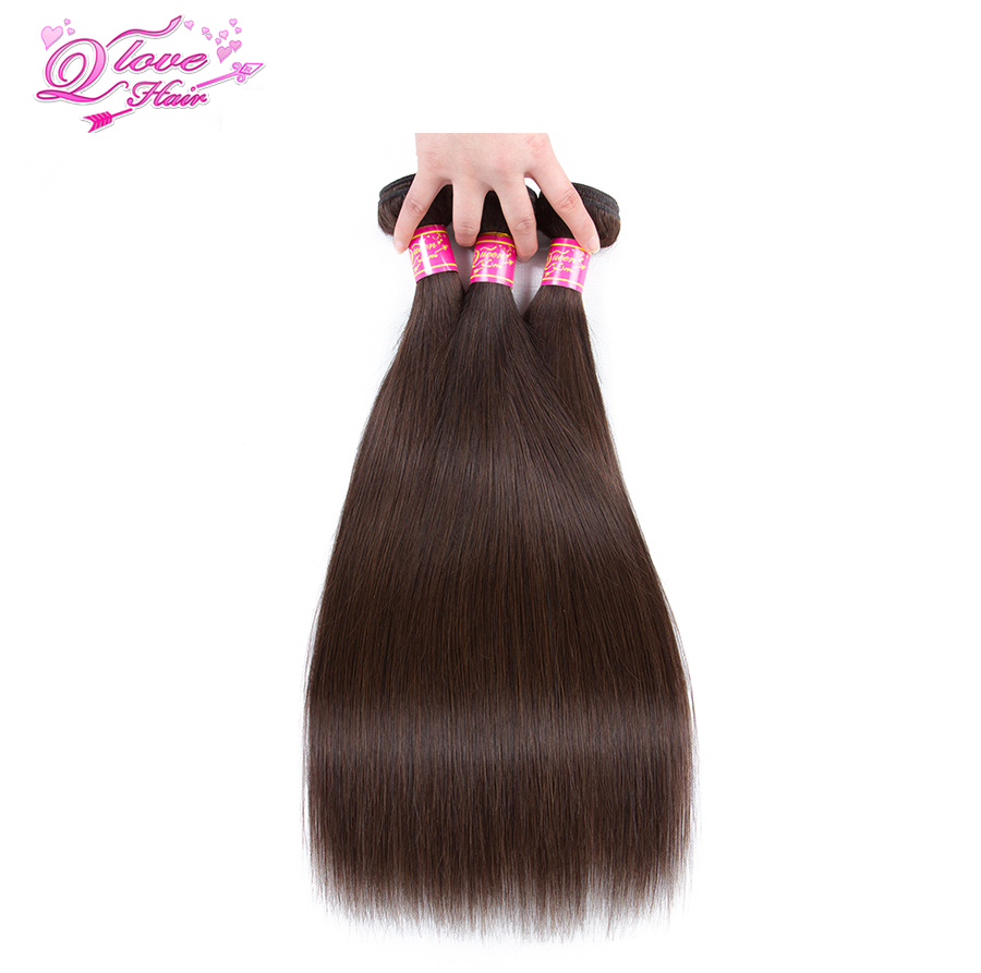 Quenn Love Hair Pre-Colored Malaysian Straight Hair For 3 Pcs #2 Color 4 Bundles Non-Remy Human Hair Extensions