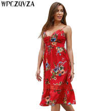 WPCZQVZA Summer Women Dress Fashion Sexy Bohemia Style Dresses Woman Party Night Printing V- Neck Sling Beach Plus Size Ve