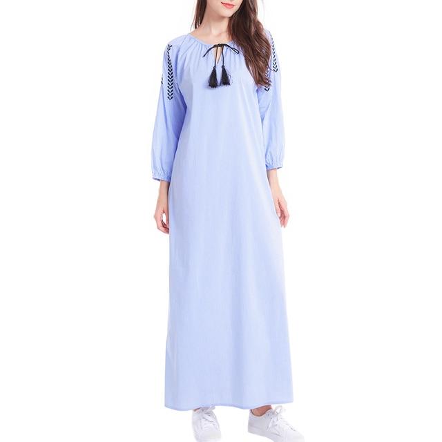 d704535ecc Women Bohemian Maxi Long Sleeve Casual Dress Vintage Kaftan Islamic Abaya  Muslim robe blue stripe shirt dress summer vestidos