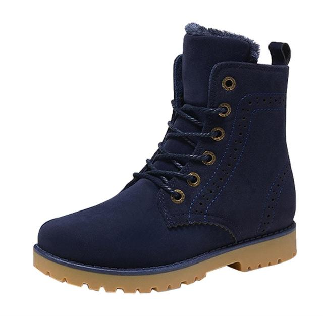 2017 Nuevos hombres de nueva retro botas de nieve con cordones de cuero pisos sólidos caliente zapatos martin botines botas de algodón masculina de los hombres