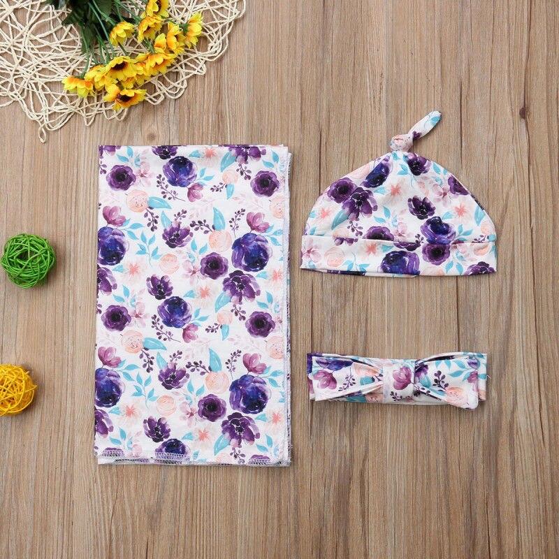 3Pcs Baby Floral Organic Cotton Blanket +hats +Headband Swaddle Wrap