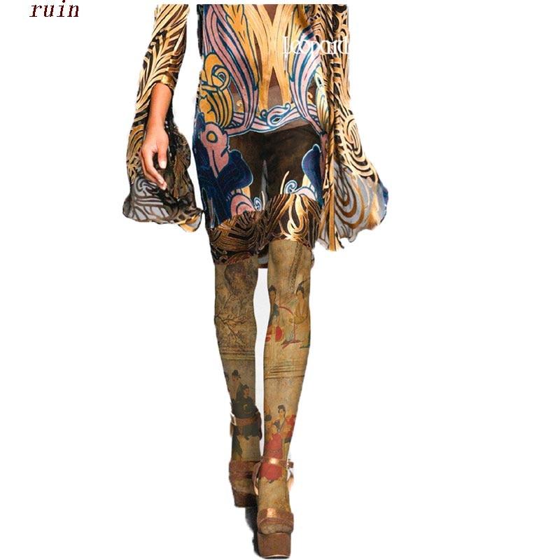 RUIN女性のタイツ中国風の壁画レトロプリントパンスト女性の女の子タイツ