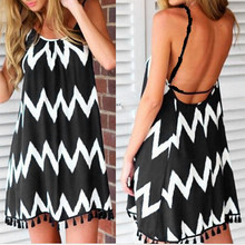 Sexy Dress Robe Black Women Beach Sleeveless Summer Strap Tassel Holiday Backless Wave-Pattern