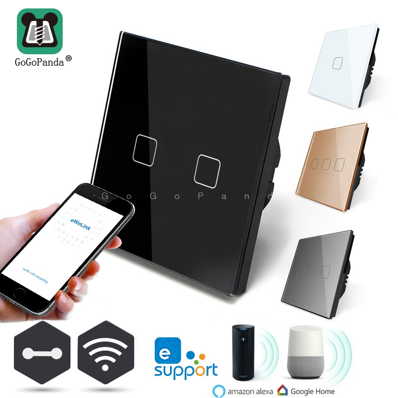EU Standard 1 Way Wifi Remote APP Control Type Wall Light Controller Smart Home Automation Touch