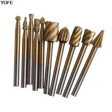 10 Шт. Гравировка Фрезы Деревообрабатывающие Инструменты Шлифовальные Электрические Ротари Файл Голова