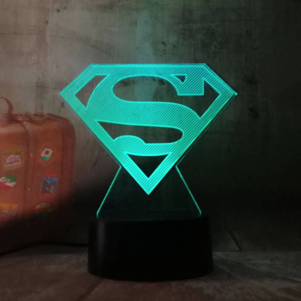 Cool DC Justice League Superman Logo Symbol 3D LED Night Light Flashlight USB RGB 7 Color Change Desk Table Lamp Toy Kids Gift
