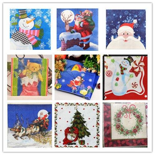 20 בציר מפית נייר מודפס סנטה קלאוס איש שלג צביים מגזרת נייר servilletas חתונה חמוד ילדים מסיבת יום הולדת דקור