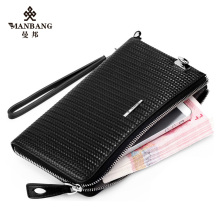 Brand Designer men leather clutches High quality Genuine leather money clip Luxury Knit style Black male Purse  MBS1207032AH