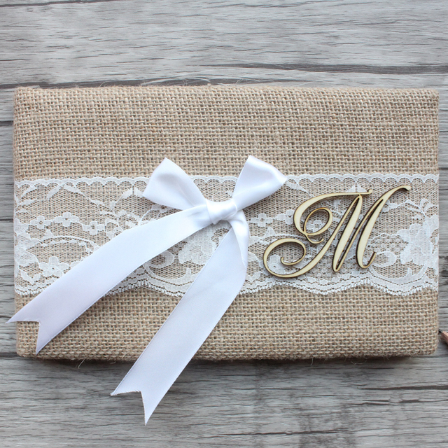 Chic Country Wedding Monogram Style Custom Initials Guest Book Burlap Cover Lace Bow Bride And
