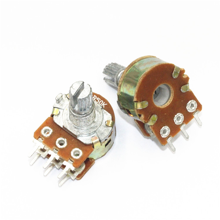 5pc/lot <font><b>WH148</b></font> D24 Rotary Potentiometer 20% 50K 10K 100K <font><b>6PIN</b></font> 15MM Linear Potentiometer Double Rotary With nuts image