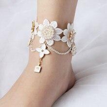 Las mujeres blancas de encaje tobilleras mujeres accesorios de época de joyería de pie